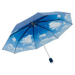 Alu oversize mini umbrella Mini Windfighter blue-metallic/cloud-design